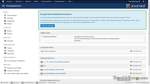 joomla 3 8 8 Nachinstallationshinweise tutorialgarage preview
